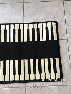 2x8 Runner Rug Modern Piano Design Keyboard Music Time Size 2'x7'2 New
