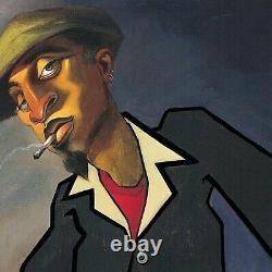 32Wx24H PIANO MAN II by JUSTIN BUA SMOKING CIGARETTE KEYBOARDS ORGAN CANVAS