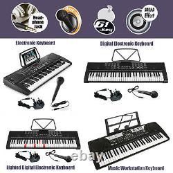 61 Key Digital Electronic Keyboards MP3 Music Piano Instruments Mic Stand Stool