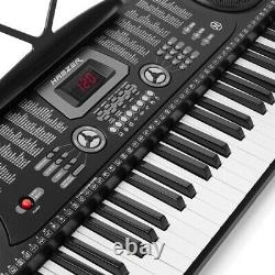 61 Key Portable Electronic Keyboard Piano w Stand, Headphones, Microphone, Music