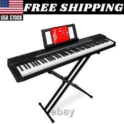 88 Key Digital Keyboard Piano W Stand Set Semi Weighted Keys Sustain Pedal Music