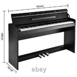 88 Key Music Keyboard Piano WithStand Adapter 3 Pedal Board Electric WithO Bench US