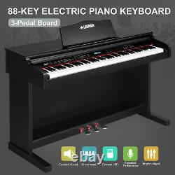 88 Keys Electric Piano Digital LCD Keyboard with Music Stand+Adapter+3-Pedal Board