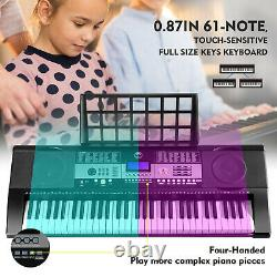 Adjustable 61-Key Electronic Keyboard Piano Digital Music Portable Stand Bench