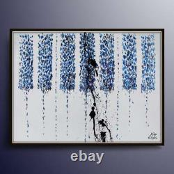 HUGE Abstract Piano Keyboard 55 x 38 Original Oil Painting, navy blue colors
