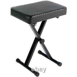Keyboard Bench Seat Padded Adjustable Stool Wide Music Digital Piano Folds