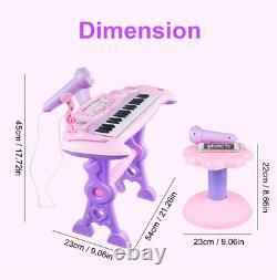 Musical 37 Key Electronic Keyboard Kids Toy Mini Grand Piano, Stool, Microphone
