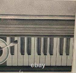 Rare 1979 HUGH KEPETS'Demitasse' Coffee Cup on PIANO KEYBOARD Lithograph