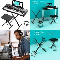 Rif6 Electric 61 Key Piano Keyboard With Over Ear Headphones, Music Stand, Dig