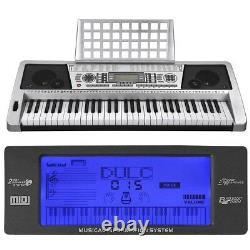 Silver 61 Key LCD Display Electronic Keyboard Digital Electric Piano Music