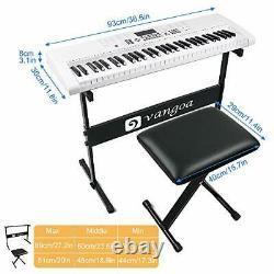 Vangoa Piano Keyboard 61 Lighted Key Music Keyboard with Stand, Piano stool