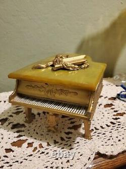 Vintage Grand Piano Music Box Thorens Swiss Gold Gilt Piano with Keyboard Bakelite