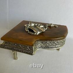 Vtg. Grand Piano Music Box Thorens Swiss Gold Glit Piano With Keyboard Bakelite