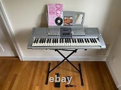 Yamaha PSR-295 Keyboard Piano with Stand & Music Holder & Pedal & Manual Bundle