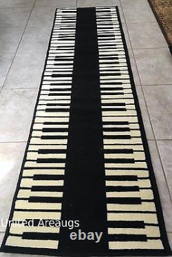 2x8 Runner Rug Modern Piano Design Keyboard Music Time Size 2'x7'2 Nouveau