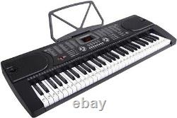 61 Key Portable Electronic Keyboard Piano W Stand, Casque, Microphone, Musique