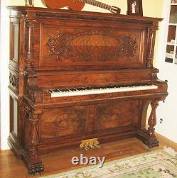 B. Shoninger Burl Walnut Boîte À Musique En Bois Jukebox Joueur Piano Pneumatique Numérique