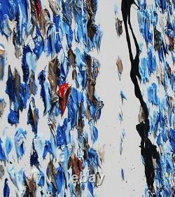 Énorme Clavier Abstrait De Piano 55 X 38 Peinture Originale À L'huile, Couleurs Bleu Marine