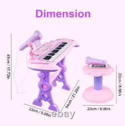 Musical 37 Key Electronic Keyboard Kids Toy Mini Piano À Queue, Tabouret, Microphone