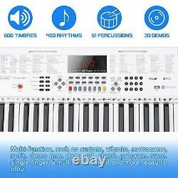 Vangoa Piano Clavier 61 Lighted Key Music Clavier Avec Support, Tabouret De Piano