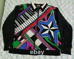 Vtg Années 80 90 Bob Mackie Wearable Art Piano Jacket Bomber Music Keyboard Disco XL